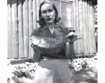 Digital Download, Woman Holding Fish, Vintage Photo, Black & White Photo, Funny, Mid-Century Photo, SnapShot, Vernacular Photo, Printable