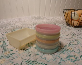 Vintage Tupperware Wagon Wheel Pastel Coasters with Holding Tray - Tupperware Coasters  - 16-850