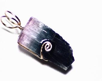 SALE Tourmaline Necklace Gold, Purple Tourmaline Pendant, Black Tourmaline Jewelry (10.9 ct) 14k Gold Blue Rare Tricolor Tourmaline Crystal
