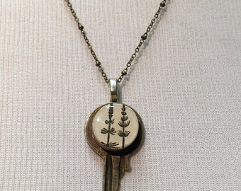Vintage Key Pendant with Vintage Dictionary flower