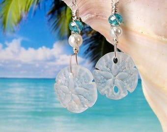 White sand dollar seaglass beads wire wrapped beach earrings, tumbled glass earrings