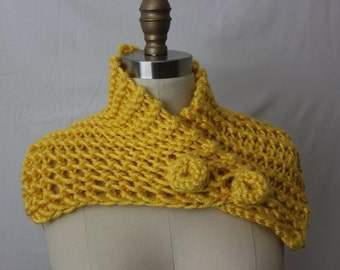 Chunky Yellow  Gold Cowl ,Knitted,  Convertible