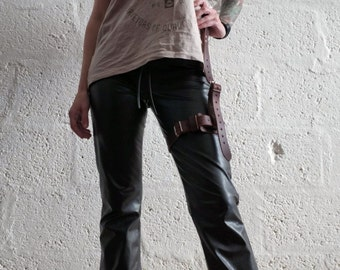 Premium Real Leather Single Thigh Harness - Blood Brown - steampunk - burning man - festivals - apocalypse, Please read Description for size