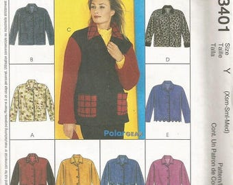 McCall's 3401 Express Yourself Jacket Pattern SZ Xsm-Med.    CLEARANCE ITEM