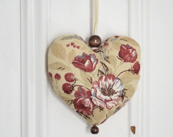 Fabric heart to hang Decoration Ornament Door hanger Gift Eglantine Wild Rose Beige Natural Red