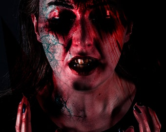 Horror Print - Bloody Face, Bleeding, Dark Face, Scary Face, A3,Horror Scene,Dark Print,Digital Art,Horror Art,Dark Art, Scar, Burn, Torture