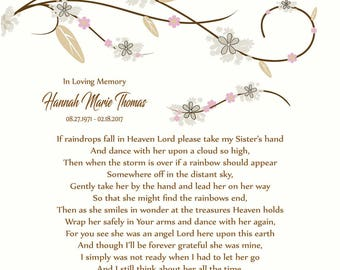 Sister in Heaven-Loss of Sister-In Memory of Sister-Sister Memorial Poem-Personalized Memorial Print-Sympathy Gift-Choice of Poem