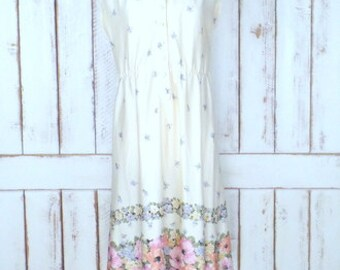 70s vintage ivory floral pullover cap sleeve midi dress/sheer poly stretch waist day dress