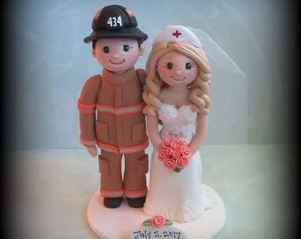 Wedding Cake Topper, Custom Cake Topper, Firefighter, Nurse and Fireman, Sexy Nurse, Polymer Clay, Personalized, Wedding Keepsake