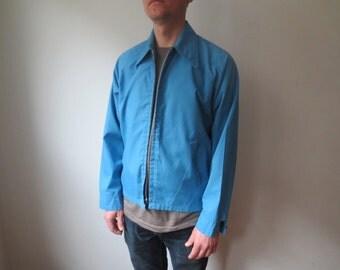 Vintage '60s Briarcliff Permanent Press Men's Powder Blue Harrington Jacket, Medium