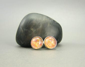 Soft Peach Glass & Sterling Silver Earring Studs