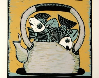 linocut, fish, kettle, yellow, grey, printmaking, original art, kitchen art, home interior, proverb, fun art, humor, modern art, art for him