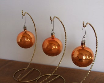 Vintage Poland Broze/Gold Mercury Glass Ornaments 3