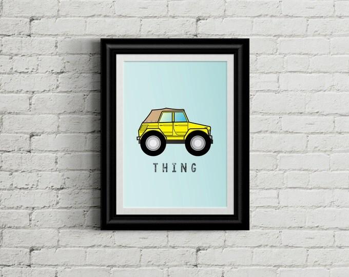 VW Thing Kid's Bedroom Wall Art - Hippie Boys Room Decor - Tie Dye Room Decor - VW Nursery Decor