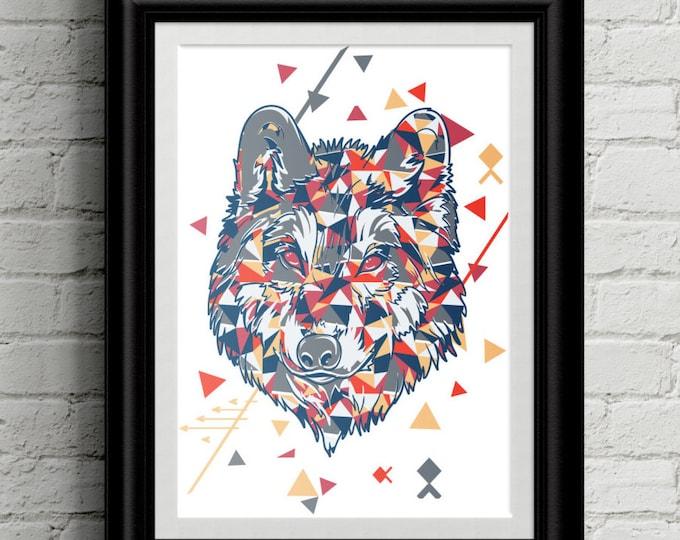 Hipster Wolf Themed Kid's Bedroom Wall Art - Hipster -Girls Room Decor - Boys Room Decor - Nursery Decor