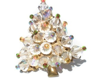 Glass Beaded Christmas Tree Brooch with Aurora Borealis Bicones Iridescent Seed Beaded Tips on Bronze Base - Vintage Jewelry Festive Holiday