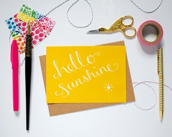 Hello Sunshine Notecard. Bright Notecard. Cute Yellow Greeting Card. Hand Lettered Note Card.