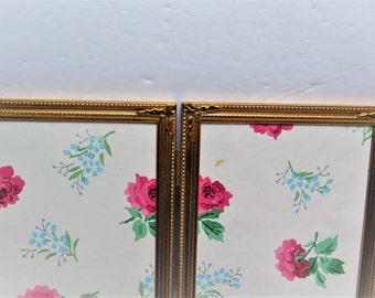Double 5 x 7 Bright Brass Bi-Fold Picture Frame Ornate corner Design  Mid Century Picture Frame Hinged folding