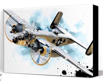Airplane - B25 Bomber - Canvas Art Print, Airplane Decor, WWII, Vintage Military, Plane, Airplane Art Print, Aviation, Air Force, Pilot Gift