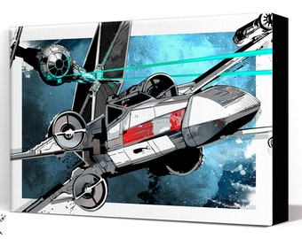 Star Wars Canvas - X-Wing Tie Fighter battle - Star Wars Art, large Canvas Art print, fan art illustration available in many sizes.