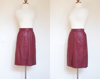 vintage 1970s burgundy leather skirt / 70s Claude Bonucci oxblood A line skirt / XS -S