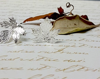 Silver Leaf Earrings, Leaf Stud Earrings, Silver Jewelry, Autumn Jewelry, Autumn Weddings, Silver Wedding Earrings, Autumn Bridal Jewelry