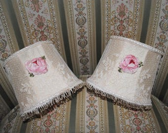 Pair small lace LAMPSHADES PINK ribbonwork ROSES French boudoir charm