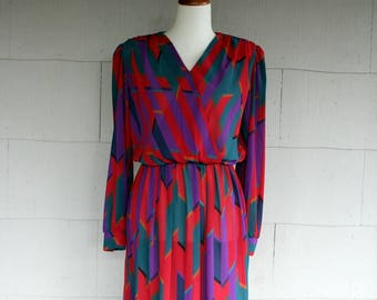 Vintage Dress / 80s Graphic Pattern Semi Sheer Dress / Small