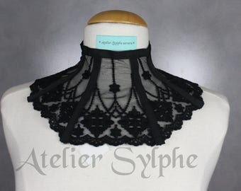 Black lace neck corset collar with delicate style ribbon back lacing and zip closure ref L