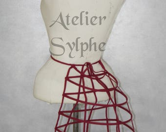 One Burgundy ribbon and lacing Crinoline hoop back long bustle cage pannier