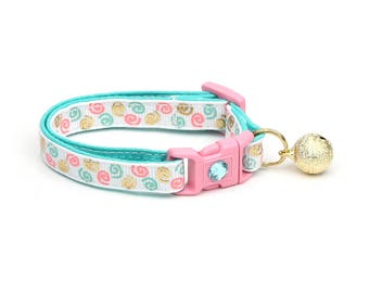 Swirl Cat Collar - Aqua, Gold, and Pink Squiggles - Doodles - Kitten or Large Size