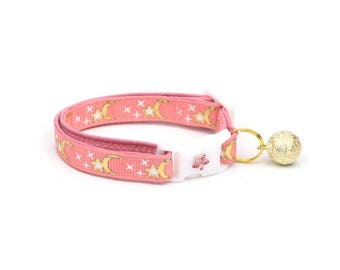 Moon Cat Collar - Gold Moons and Stars on Coral Pink - Breakaway Cat Collar - Kitten or Large size - Glow in the Dark