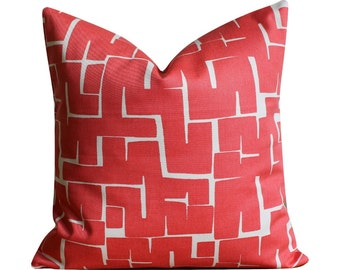 Contemporary pillow cover, pillowcase, coral cushion cover, Accent Pillows, Cotton Pillow Shams - Labyrinth Coral