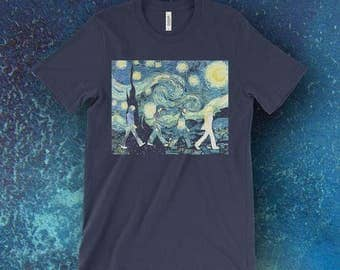 Beatles Inspired Starry Night and Abbey Road Printed On Bella+Canvas T-Shirts