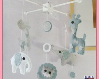 Baby Crib Mobile, Elephant Mobile, Giraffe Mobile, Lion Mobile, Modern Safari Mobile, Polka Dot London fog Gray White theme