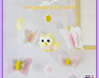 Baby Crib Mobile,Baby Girl Nursery Mobile,Owl and Butterfly Mobile,Yellow and Pink Nursery, Spring Mobile, Match Bedding Mobile