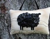 Black Sheep PILLOW, Prim Ireland Sheep, Irish gift, Primitive Hand Embroidery, Unique Vintage Button Sheep, OOAK Original Design, Ireland