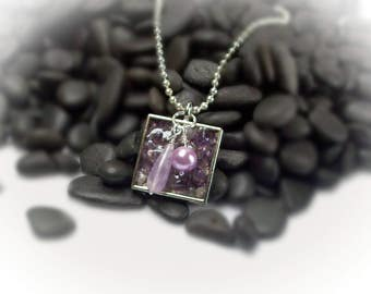 Amethyst Pendant Amethyst Necklace February Birthstone German Glass Resin Pendant Charm Necklace Silver Necklace Purple Necklace - 15022