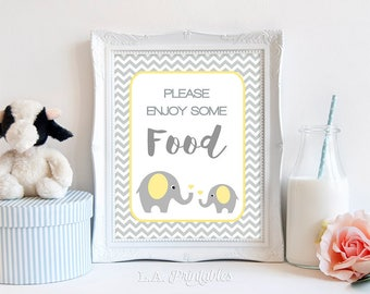 Please Enjoy Some Food Baby Shower Sign, Yellow Elephant and Grey Chevron, Gender Neutral,  INSTANT PRINTABLE