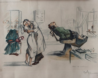 Gaston Hoffman Signed Colored Lithograph Print Vintage Dentist Humorous Lithograph Gaston Hoffman Vintage Dentist