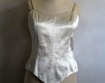 Vintage Norma Kamali 80s Bustier Vintage 1980s Cream Satin Evening Dressy Top 10 Medium
