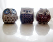 Vintage 1970s Stoneware OWL Trio Little Guys  A D O R A B L E Handmade Collectible pottery ceramic Retro Mini OWLs figurine Collection