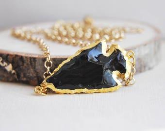 Arrowhead Necklace, Obsidian Arrowhead, Arrowhead Jewelry, Short Necklace, Gold Arrowhead, Black Arrowhead, Festival necklace, Boho Necklace