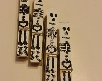 SALE // Set of 2 hand stamped skull clothes pins