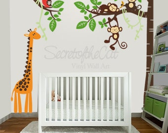 Nursery Wall Decal - Wall Decals Nursery - Corner Tree Vinyl Wall Decal - Tree Wall Decal - Giraffe - Tree and monkeys