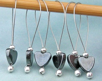 Stitch Markers, Knitting, Hematite Hearts, Semi-Precious Stones, Dark Grey, Snag Free, Knitting Tool, Knitting Accessory, Gift for Knitters