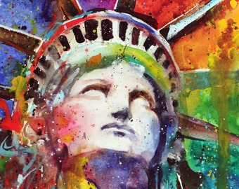 STATUE of LIBERTY Watercolor Art Print by Dean Crouser