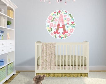Large Floral Letter Wall Art for Nursery - Premium Fabric Wall Decal - Peel and Stick Application - Floral Wall Decal - WB422