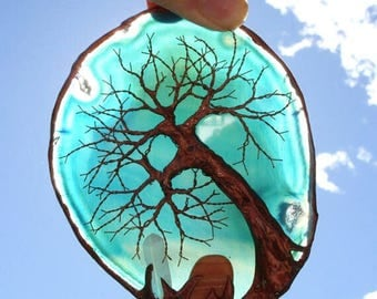 Copper Wire Tree Of Life Metal Art Sculpture On A Blue Green Agate Stone Crystal Suncatcher With Polished Gemstone And Quartz Crystal Point