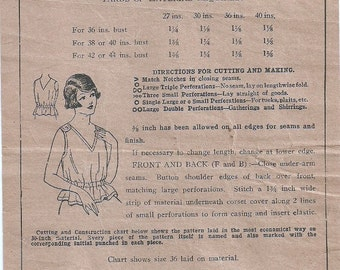 Early 1900s Mail Order Corset Cover Pattern 8873, Size 38 to 40 Inch Bust